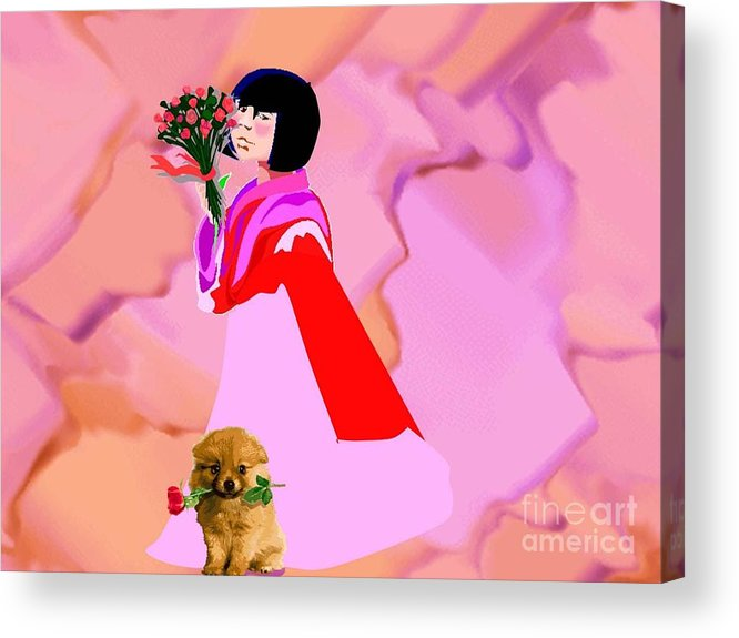 Dog Acrylic Print featuring the digital art Rose Petals by Belinda Threeths