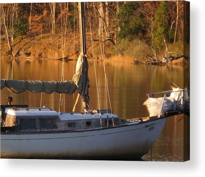 Sunset Acrylic Print featuring the photograph Sailboat At Sunset by Valia Bradshaw