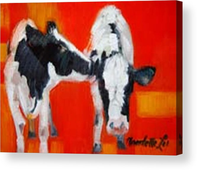 Cow Acrylic Print featuring the painting Secret by Claudette Lee-Roseland