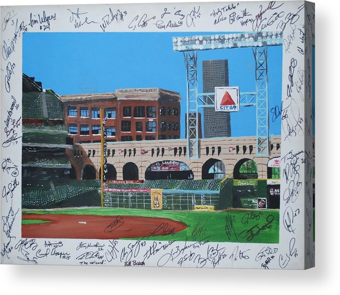 Autographed Acrylic Print featuring the painting Signed Minute Maid by Leo Artist