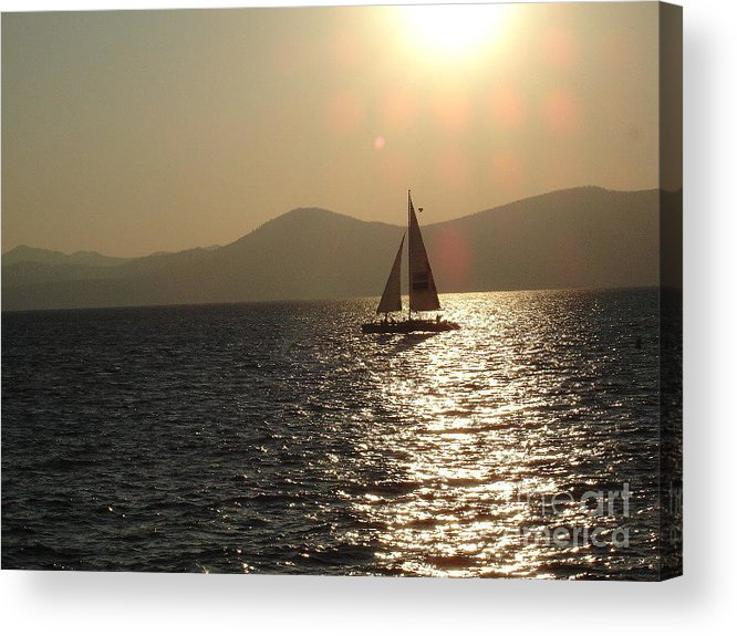 Landscape Acrylic Print featuring the photograph Single Sailboat by Silvie Kendall