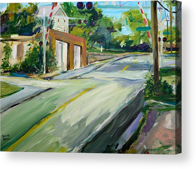 Millbury Acrylic Print featuring the painting South Main Street Train Crossing by Scott Nelson