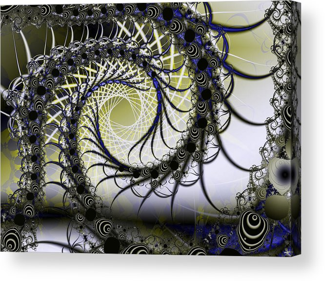 Fractal Acrylic Print featuring the digital art Spiral Web by Frederic Durville