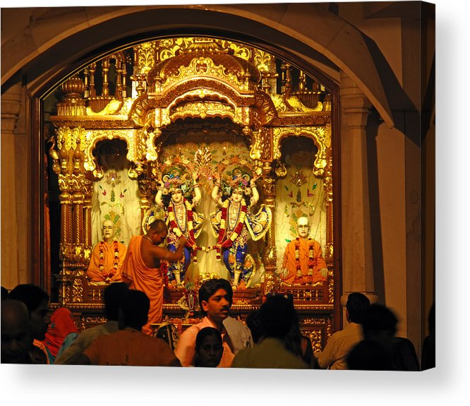 Temple Acrylic Print featuring the photograph Statues Of Ram And Lakshman And Sita At The Iskcon Temple In Delhi by Ashish Agarwal