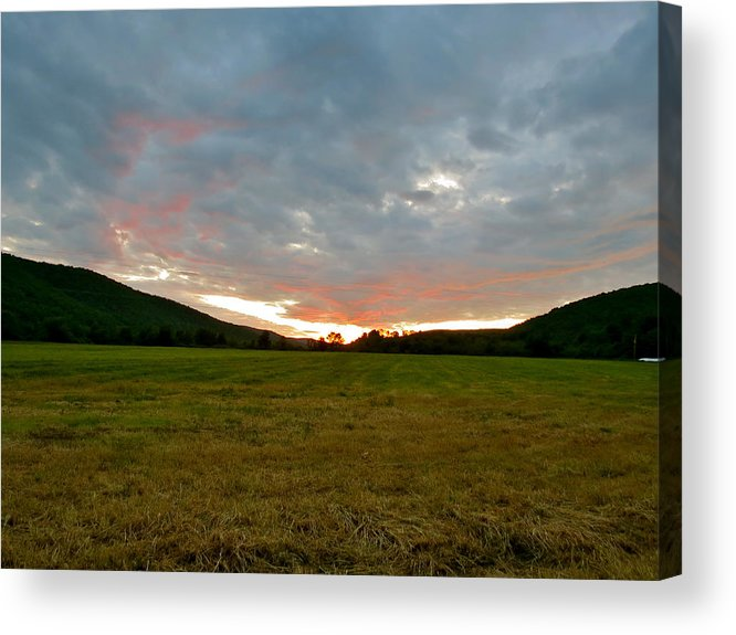 Sunset Acrylic Print featuring the photograph Sunset Over Field by Azthet Photography