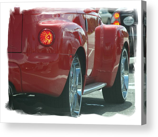Cherry Red Cheve. Crome Acrylic Print featuring the photograph Sweet Red Thang by Theo Bethel