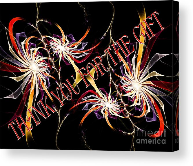 Fine Art Greeting Card Acrylic Print featuring the digital art Thank You For The Gift by Andee Design