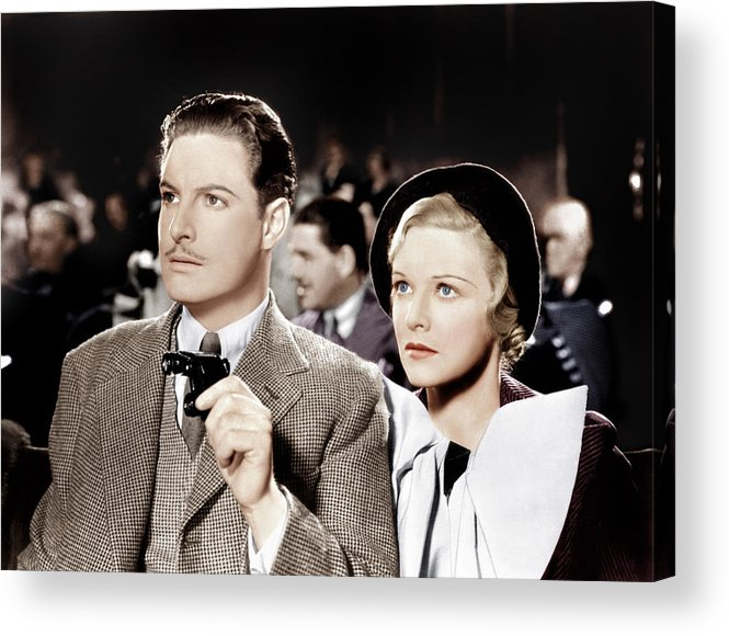 1930s Movies Acrylic Print featuring the photograph The 39 Steps, From Left Robert Donat by Everett