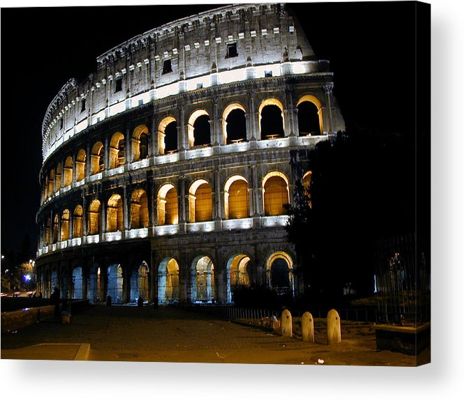 Colosseum Acrylic Print featuring the photograph The Colosseum At Night by Jill Pro