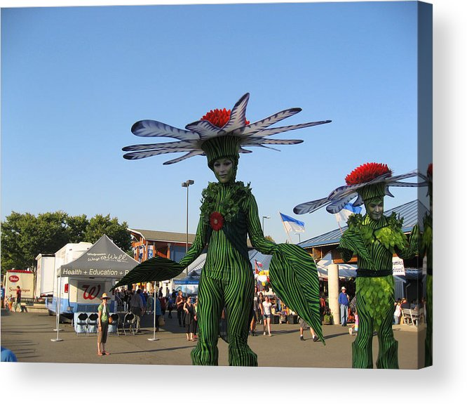 Green Stripped Suits Acrylic Print featuring the photograph The Flower Fairies Are Here by Kym Backland
