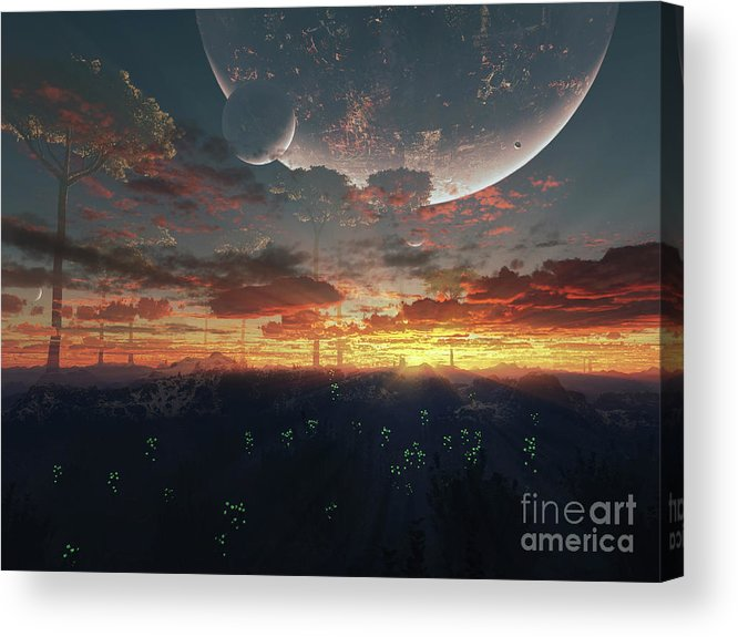 Artwork Acrylic Print featuring the digital art The View From An Alien Moon Towards by Brian Christensen