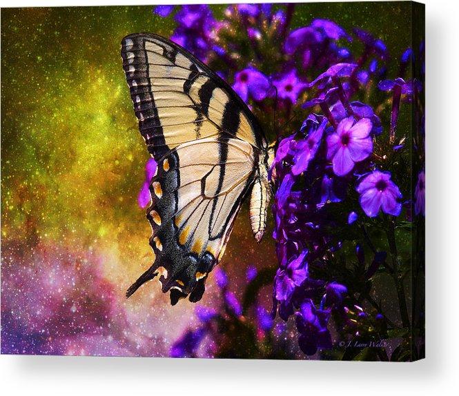 J Larry Walker Acrylic Print featuring the digital art Tiger Swallowtail Feeding In Outer Space by J Larry Walker