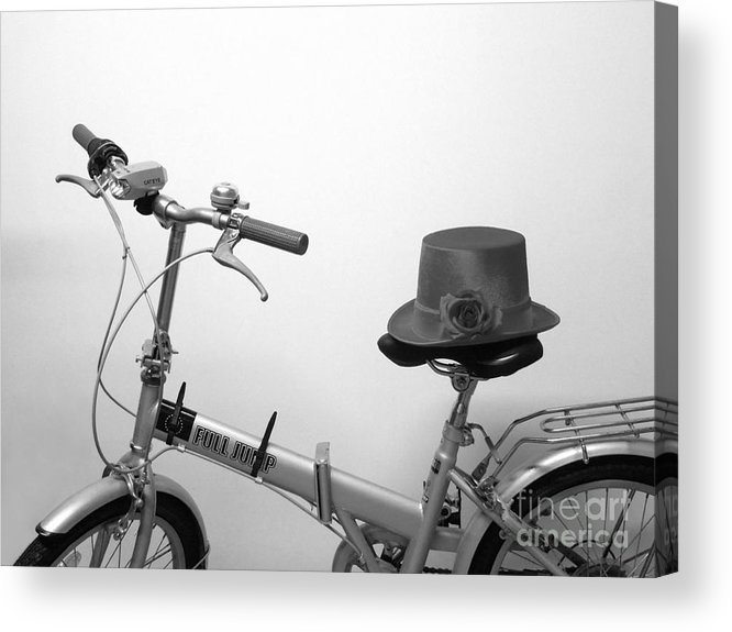 Bicycle Acrylic Print featuring the photograph Traveling In Style . Black And White by Renee Trenholm