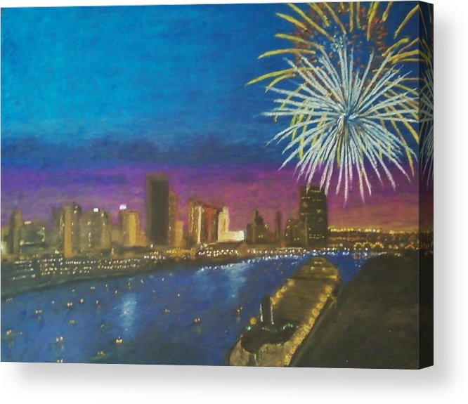 Fireworks Acrylic Print featuring the painting United Moments Of America by Samuel McMullen