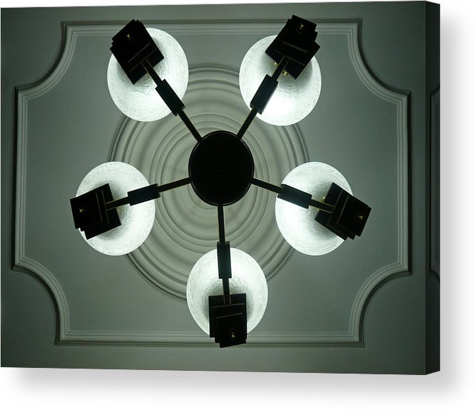 Bulb Acrylic Print featuring the photograph View Of 5 Bulb Chandelier Against A Decorated Ceiling From Underneath by Ashish Agarwal
