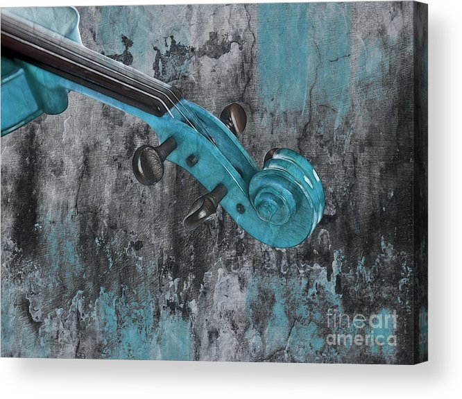Violin Acrylic Print featuring the photograph Violinelle - Turquoise 04d2 by Variance Collections