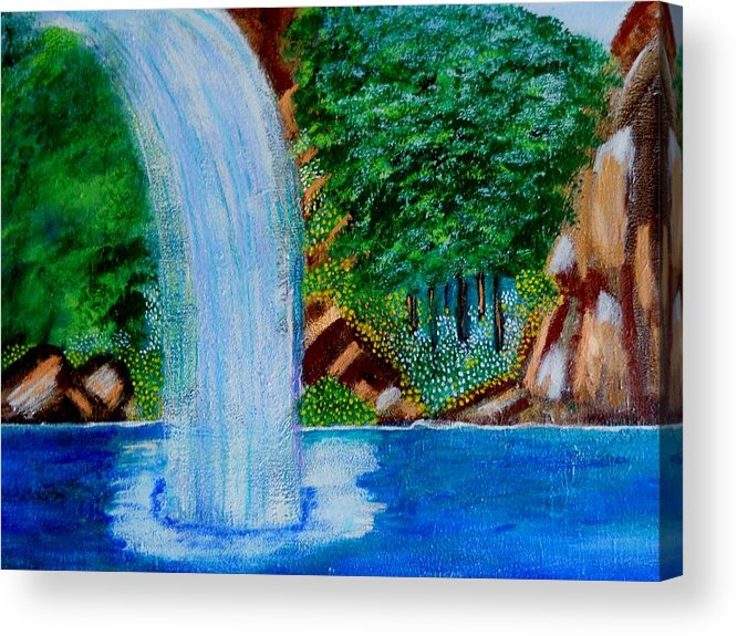 Nature Acrylic Print featuring the painting Waterfall 4 by Suzanne Thomas