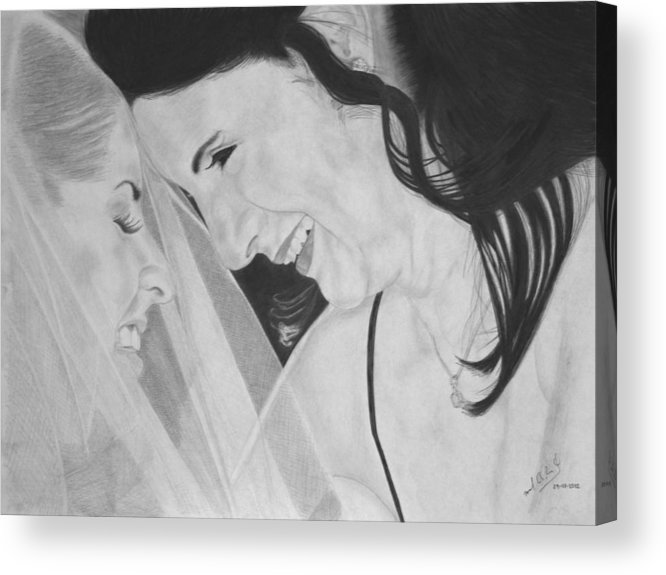 Wedding Acrylic Print featuring the mixed media Wedding - Daughter And Mother Blessing by Miguel Rodriguez