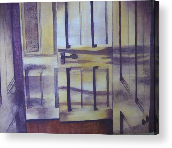 indoor Still Life Acrylic Print featuring the painting When One Door Closes by Patsy Sharpe