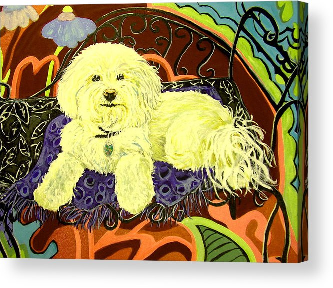 Art Acrylic Print featuring the painting White Dog In Garden by Patricia Lazar