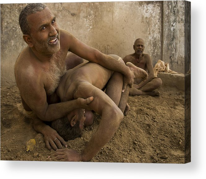 Photo Acrylic Print featuring the photograph Wrestlers by Sourjya Roy
