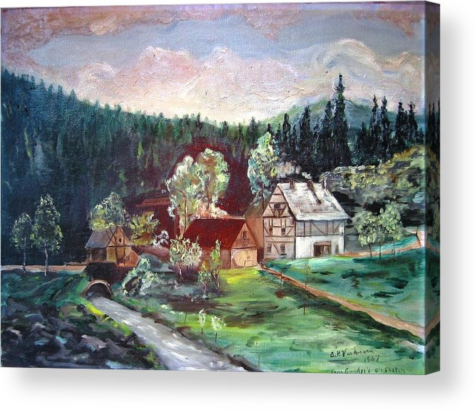 Schwartzwald Jaeger (hunter) Haus Acrylic Print featuring the painting Black Forest Germany by Alfred P Verhoeven