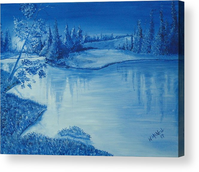 Landscape Acrylic Print featuring the painting Idaho Lakeside Night by Willie McNeal