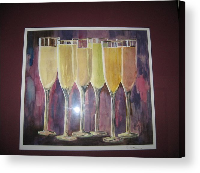 Champagne Acrylic Print featuring the painting After Five by Sheryl Sutherland