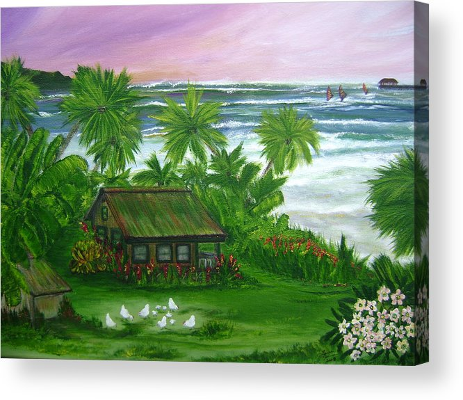 Hawaii Acrylic Print featuring the painting Aloha Morning by Laura Johnson