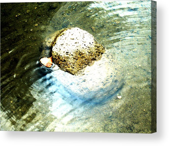 Rocks Acrylic Print featuring the painting Beside Still Waters by Tim Tanis