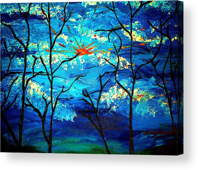 Leaf Acrylic Print featuring the painting blue Skies by Misty VanPool