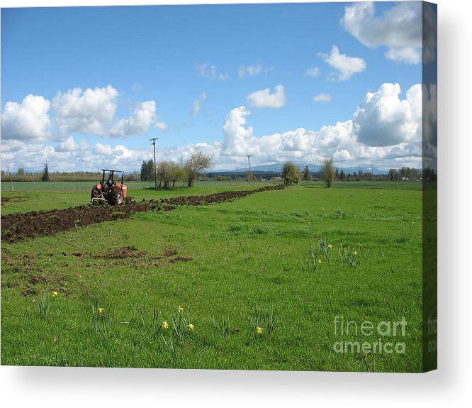 Tractor Acrylic Print featuring the photograph Breaking Ground by Juli House