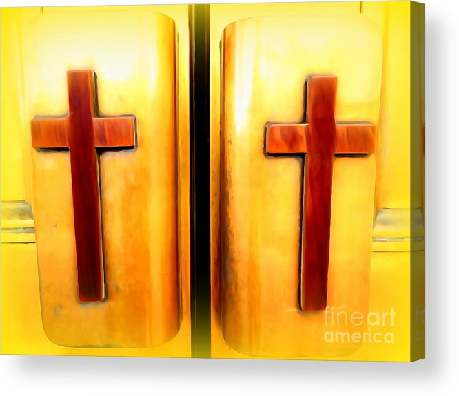 Digital Acrylic Print featuring the photograph Church Doors by Ed Weidman