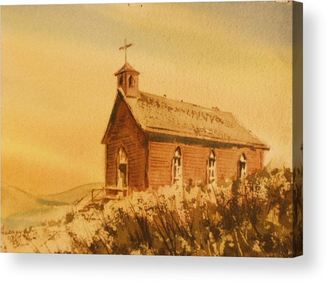 Historic Acrylic Print featuring the painting Church Manhattan Nevada by Kevin Heaney