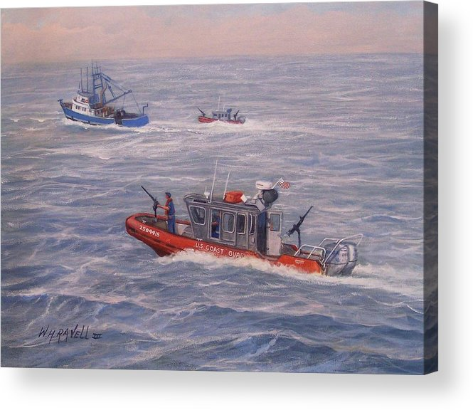 Boats Acrylic Print featuring the painting Coast Guard In Pursuit by William H RaVell III