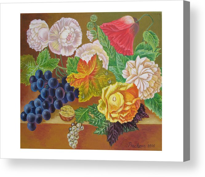 Still Life Acrylic Print featuring the painting Fruits And Flowers II. 2006 by Natalia Piacheva