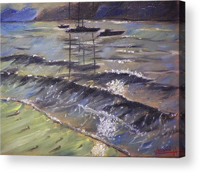 Landscape Acrylic Print featuring the painting Harbor View by Charles Vaughn