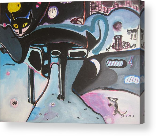 Cat Paintings Acrylic Print featuring the painting Let Me Out by Seon-Jeong Kim