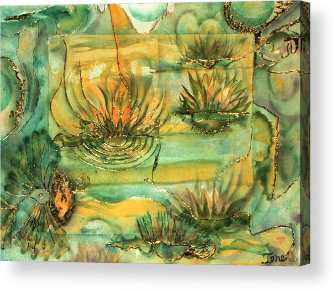 Lily Pond  Acrylic Print featuring the painting Lily Pond by Ione Citrin