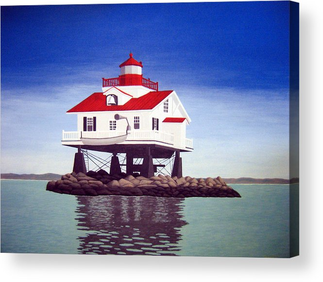 Lighthouse Paintings Acrylic Print featuring the painting Old Plantation Flats Lighthouse by Frederic Kohli