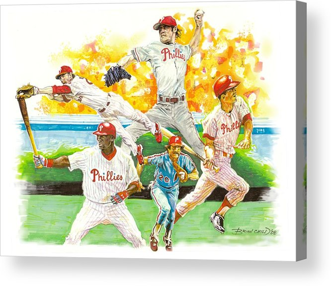 Baseball Acrylic Print featuring the mixed media Phillies Through The Ages by Brian Child