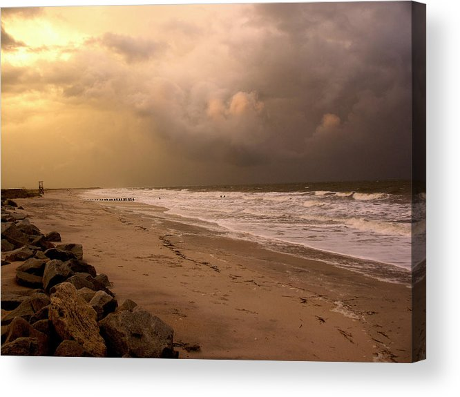Sea Gull Acrylic Print featuring the photograph Storm On The Beach by Paul Boroznoff