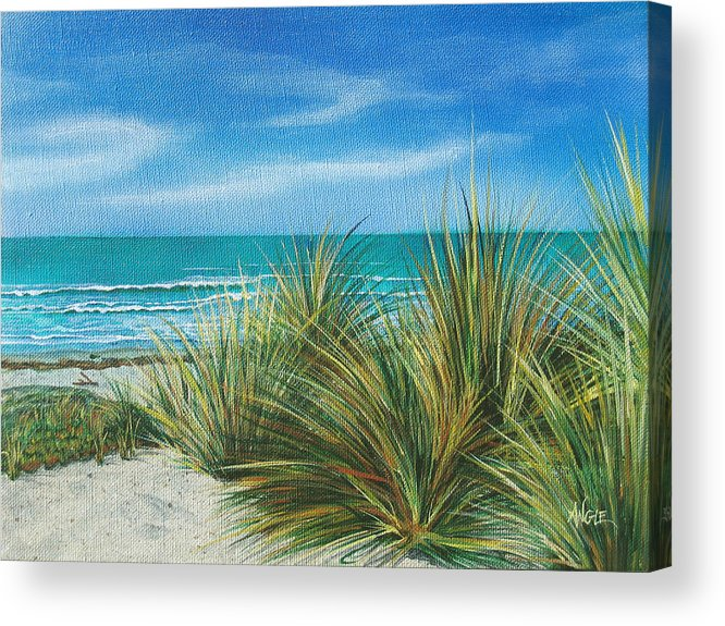 Sea Grass Acrylic Print featuring the painting Surf Beach by Angie Hamlin