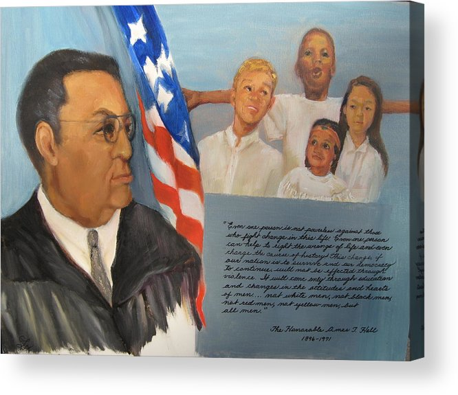 Judge Acrylic Print featuring the painting The Honorable Amos T. Hall by Catherine Lawhon