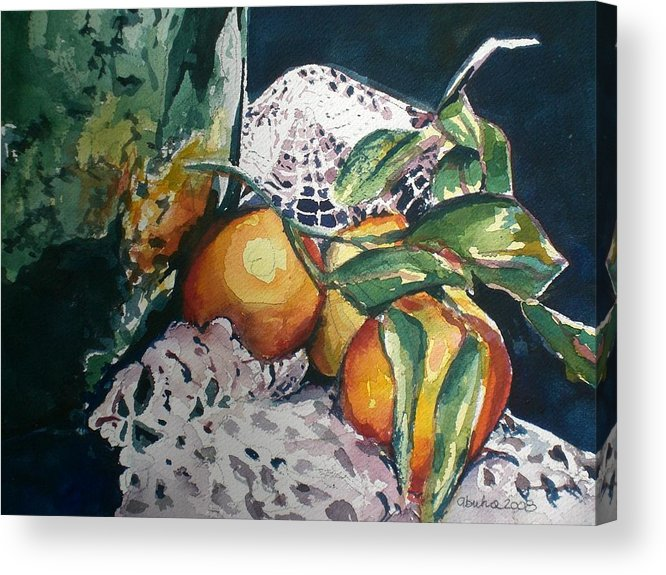 Oranges Acrylic Print featuring the painting Three Oranges by Aleksandra Buha