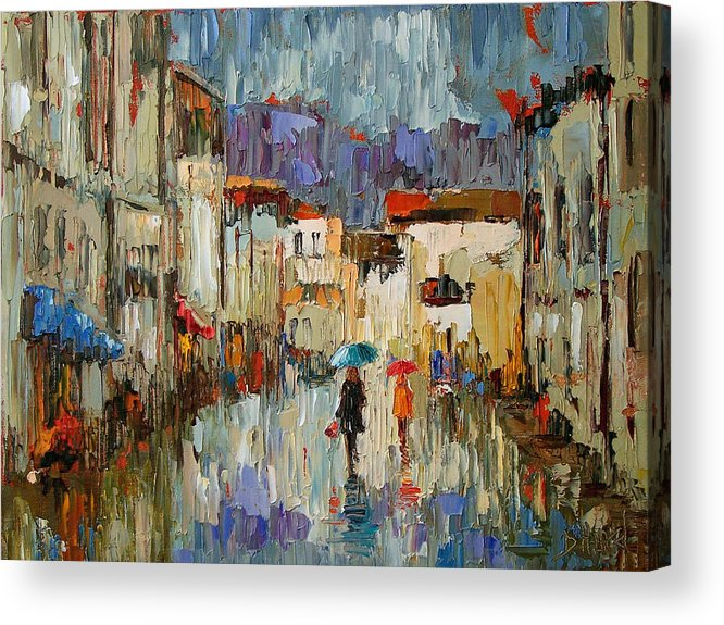 Impressionist Acrylic Print featuring the painting Tourists by Debra Hurd