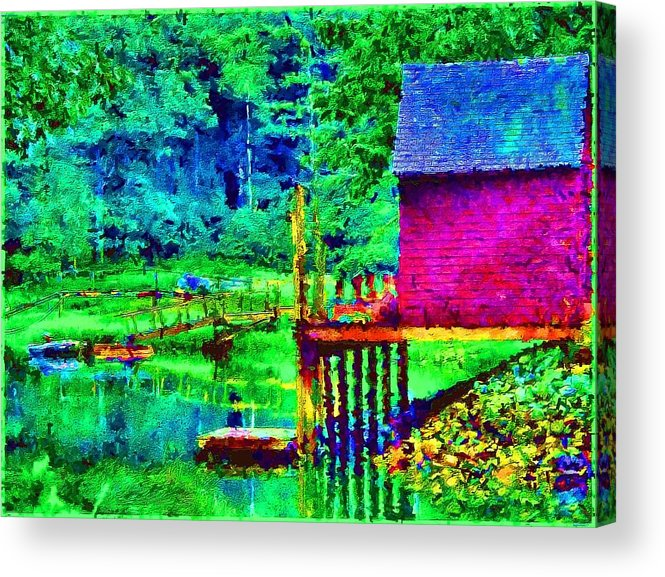 Boathouse Acrylic Print featuring the painting 11052008a Boat House On The Inlet by Ed Immar
