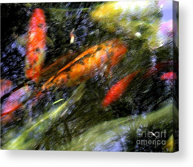 Koi Acrylic Print featuring the photograph The Koi Pond by Marc Bittan