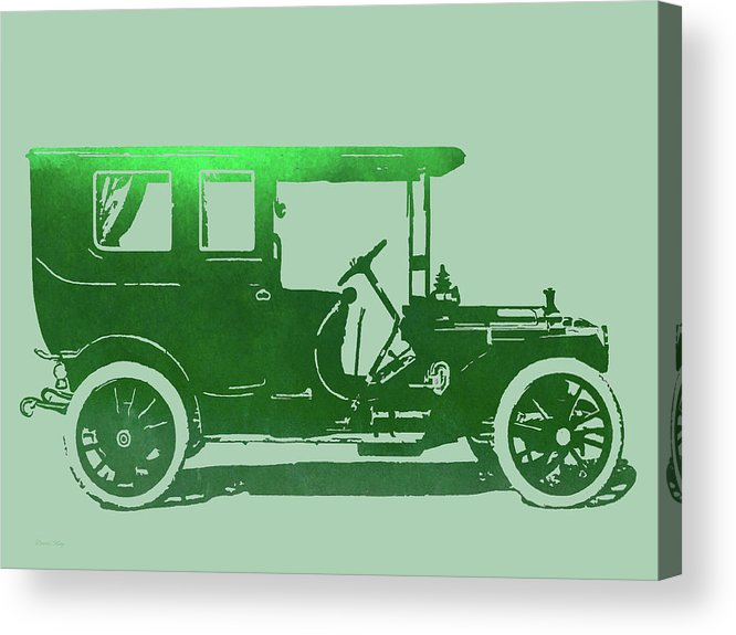 Digital Art Acrylic Print featuring the digital art 1909 Packard Limousine Green Pop by David King