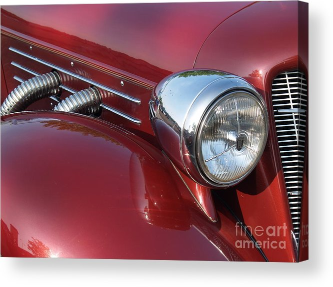 Cord Acrylic Print featuring the photograph 1937 Cord Phaeton In Burgundy by Anna Lisa Yoder